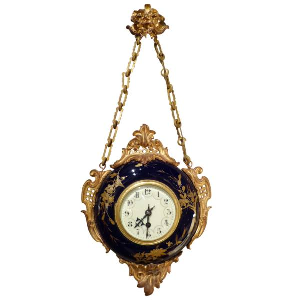Fine French Porcelain and Ormulu wall clock