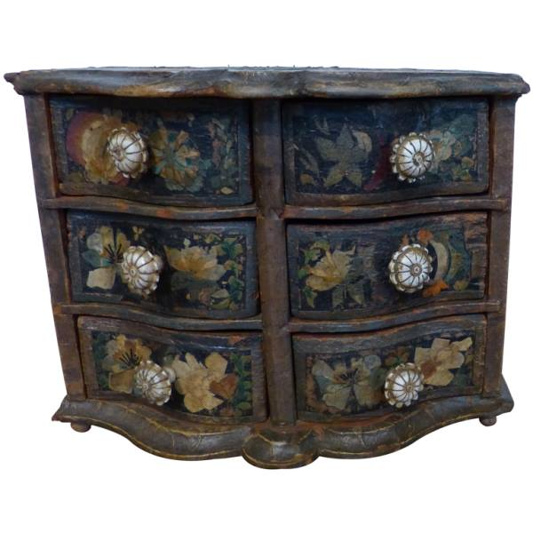 Miniature Baroque German Decoupage Chest