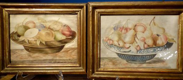 Fine and Rare Pair of Italian 17th Century Still Life Paintings on Vellum