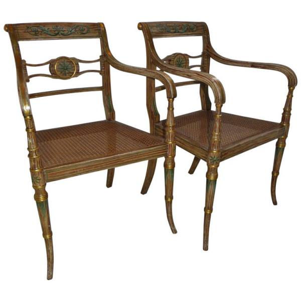 A Pair of English Regency Painted Armchairs