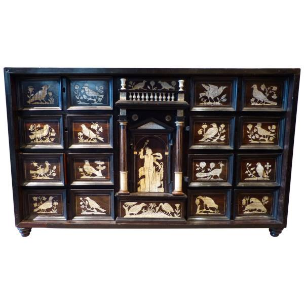 Italian Ebonized and Inlaid table Cabinet