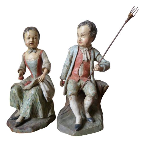 Charming Pair of German Peasant Couple Sculptures