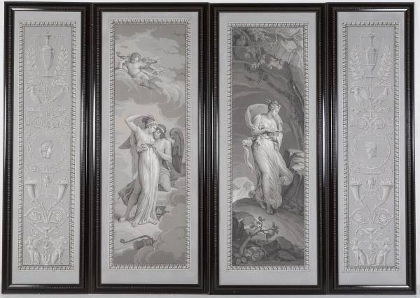 A Set of 4 French Wallpaper Panels by Desfosse & Karth