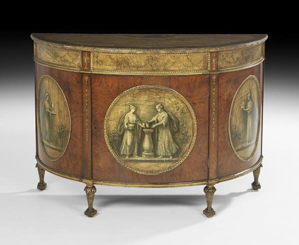 George III style Painted Demi-Lune Commode
