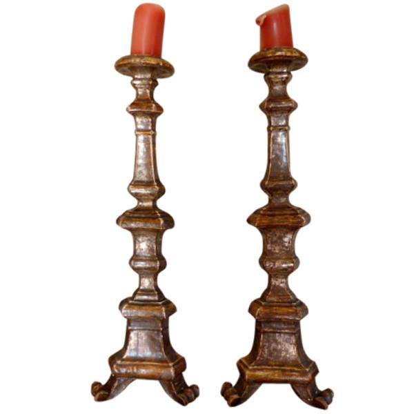 Pair of Italian Early 18th Century Baroque Candlesticks