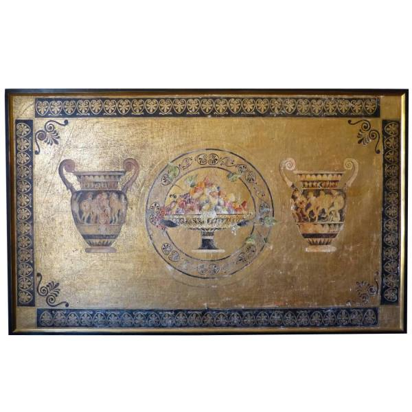 Etruscan Style Fresco Panel on Gold Leaf
