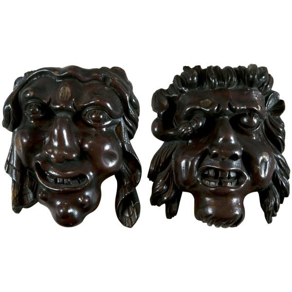 A Fine Pair of unusual Grotesque Carvings