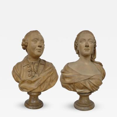 Fine Pair French of Plaster Busts