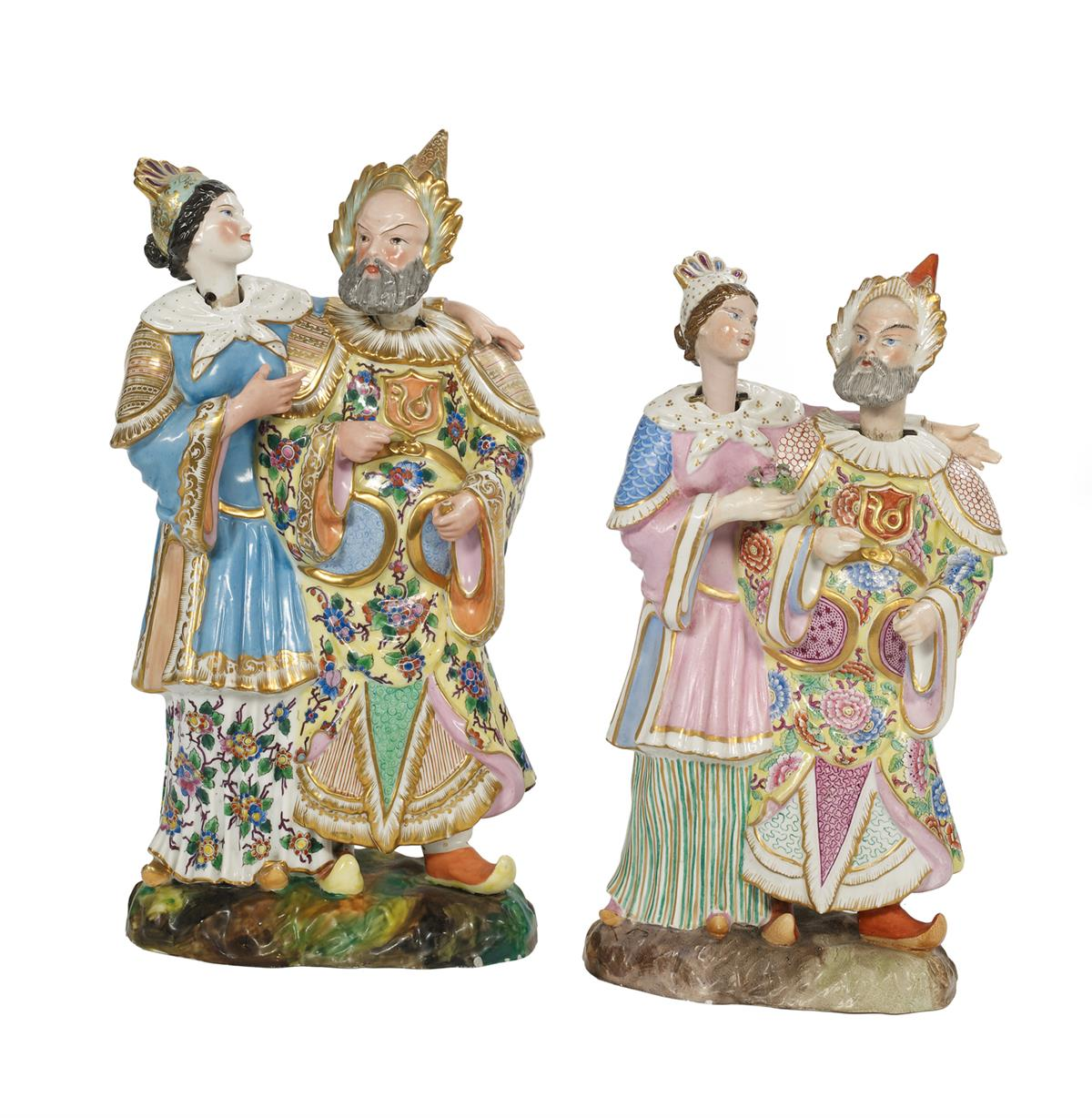 "Two Jacob Petit Paris Porcelain Figural ""Nodder"" Groups"