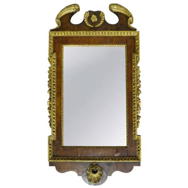 English George I Parcel Gilt and Walnut Mirror