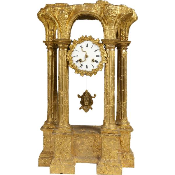 Fine and Unusual Gilt Bronze Clock