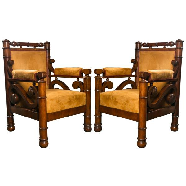 A Highly Unusual Pair of Biedermeier Armchairs
