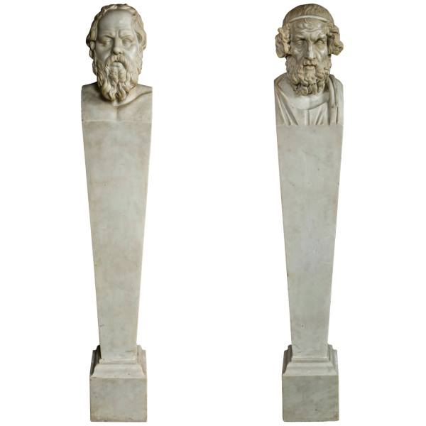 A Superbly Carved Pair Of Neoclassical Marble Herms