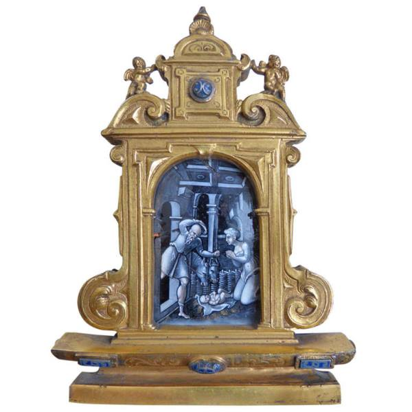 Early 18th Century Limoges  & Gilt Bronze Travel Altarpiece