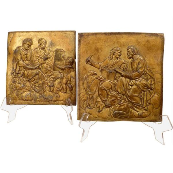A Pair of Rare Italian Gilt Lead Plaques 17th Century