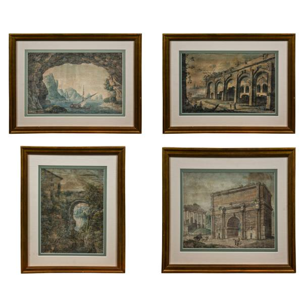 A Good set of 4 Italian Watercolors