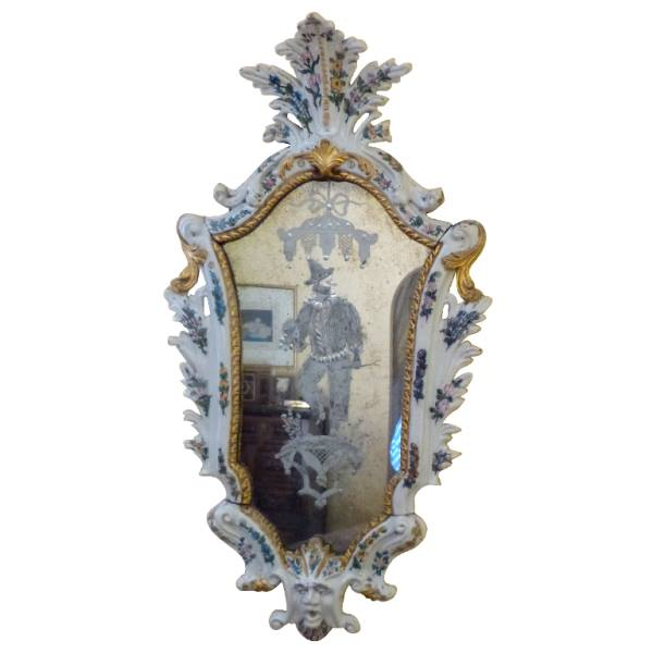 A Pair of Italian porcelain and etched mirror Veneto Region